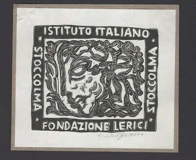 24)Nr.006 - EXLIBRIS - Amleto del Grosso - Gesicht / face - signiert / signed