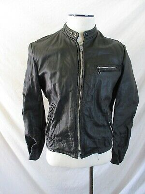 cafe racer true vintage black leather tab collar classic motorcycle jacket 42