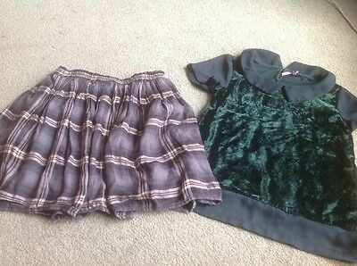 age 10 next green top and grey checked skirt