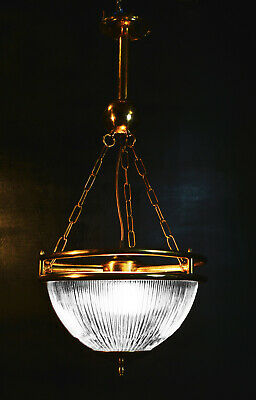 Vintage reclaimed 1950s Holophane and heavy brass ceiling lantern light pendant