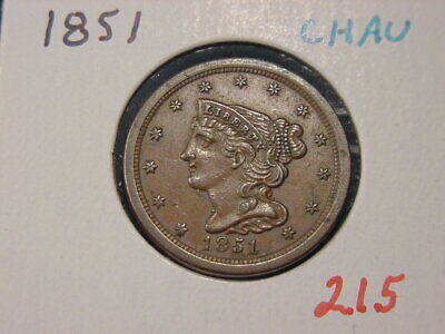 1851 Braided Hair Half Cent Choice Au Nice
