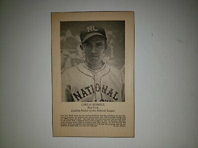 Carl Hubbell 1936 Spalding NL Leading Pitcher Sheet