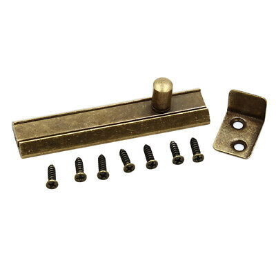 Sliding Flat Bolt Antique Brass Surface Slide Lock Door Barrel Bolts Supplies D