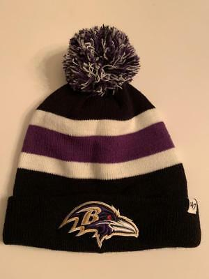 b71944729 Baltimore Ravens '47 Football NFL Ski Knit Pom Beanie Winter Ski Hat NEW