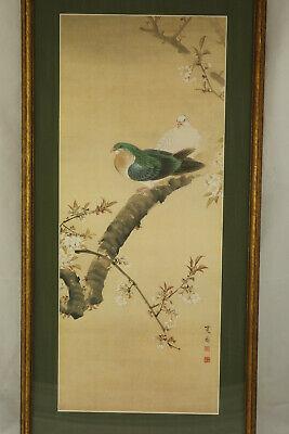 Vintage Japanese Woodblock Print Birds Signed Matted & Framed