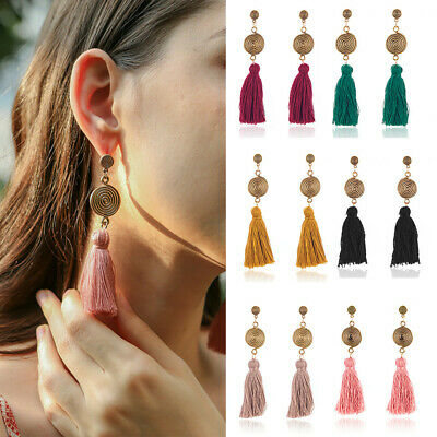 Stylish Women Bohemian Long Tassel Fringe Boho Ear Stud Dangle Earrings Jewelry