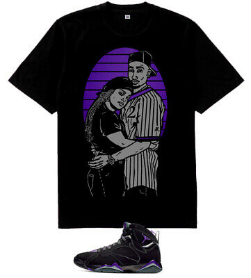bd9a0c90dc5 Purple Grey Jusitce and Lucky 2pac shirt for air Jordan 7 Retro Ray Allen  Bucks