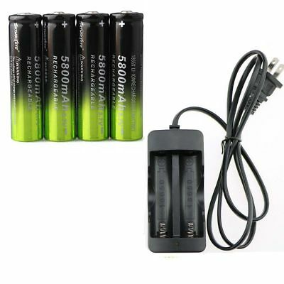 4pc SKYWOLFEYE 18650 Battery 5800mAh 3.7V Li-ion Rechargeable Bat+ Wired Charger