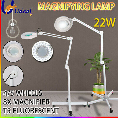 4/5 Wheels Magnifying Lamp Light Floor Stand Glass Lens 8x Magnifier Round Head