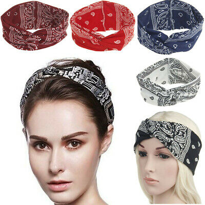 Women Ladies Yoga Sport Elastic Floral Hair Band Headband Turban Twisted Knotted