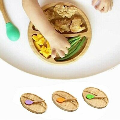 Feeding Baby Bamboo Suction Bowl Stay Put Suction Divided Plates Plus Baby Spoon