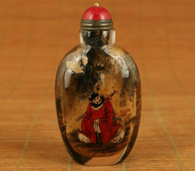 Antique natural Crystal stone Zhong Kui libai statue Snuff Bottle copper lid