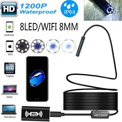 8LED WiFi Endoscope Borescope Inspection HD 1200P Camera IP68 For iPhone Android