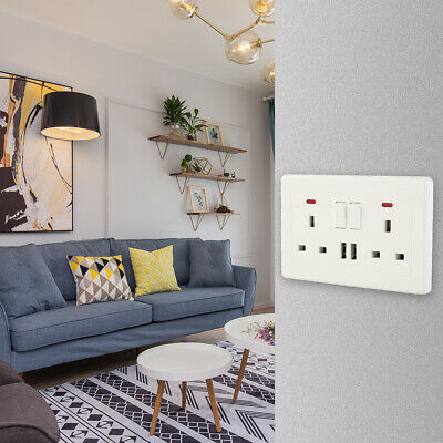 Double Wall Plug Socket 2 Gang 13A with 2 USB Ports Screwless Slim Flat Plate UK
