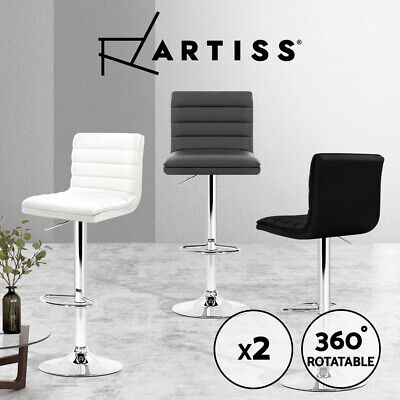 Artiss 2 x Gas Lift Bar Stools Swivel Bar Stool Kitchen Chairs Leather Black WH