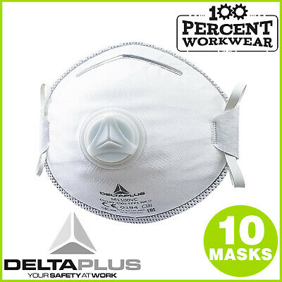 10 x High Quality Moulded Disposable Dust Masks with Valve FFP1 Low Level Risk