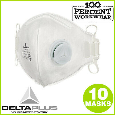 10 x High Quality Fold Flat Disposable Dust Masks with Valve FFP1 Low Level Risk