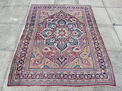 Antique Worn Traditional Hand Made Persian Oriental Red Wool Rug 181x144cm