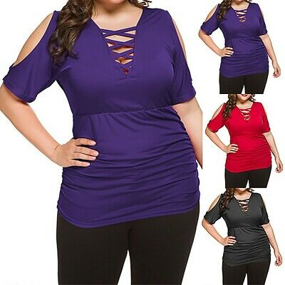 Womens Ladies Summer Fashion Sexy V-Nack Plus Size Off Shoulder Short Sleeve Top
