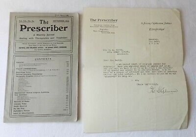 The Prescriber,  Medical Journal. 1913. With A Signed Letter. Edinburgh 1920