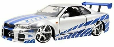 Brian's Nissan Skyline GT-R (R34) Car Fast and Furious 1/32 Die-cast Toy, Silver