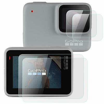 2 x Tempered Glass Screen Protector for Silver Go Pro Hero 7 Lens Camera + LCD