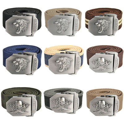 Mens Automatic Metal Buckle Canvas Outdoor Military Style Tactical Belt 140cm-NJ