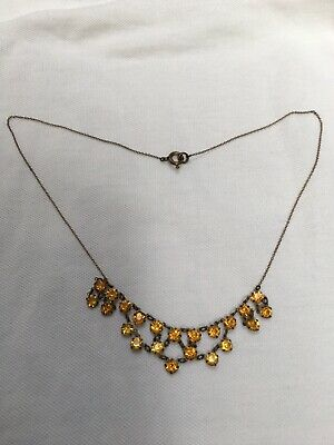 Vintage Art Deco 1920s 1930s amber crystal glass bead & Brass necklace 17.5 Inch