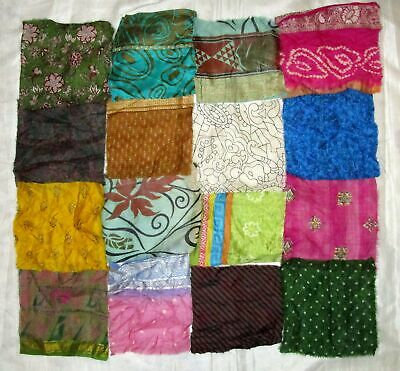 UK LOT PURE SILK Antique Vintage Sari Fabrics REMNANT 16 pcs 8 inch #ABDIS
