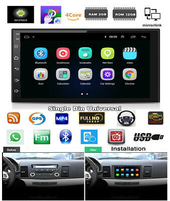1 DIN Universal 7''1080P Touch Screen GPS Android 8.1 Quad-core RAM 2GB ROM 32GB