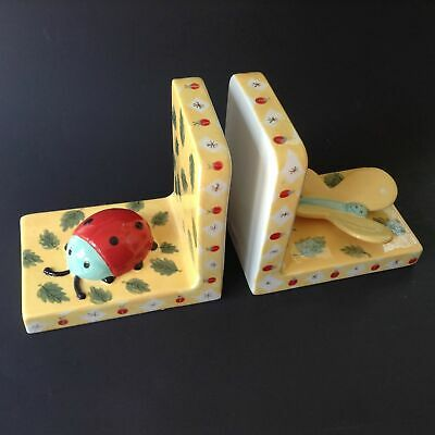 Pair Ceramic Bookends Butterfly & Ladybug House of Hatten Kids