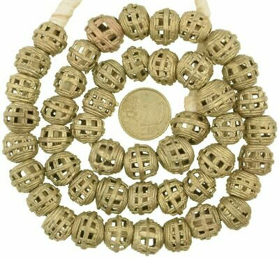Schöner Strang Messingperlen Gelbg bronze Afrika Ghana Brass Trade Beads Ashanti