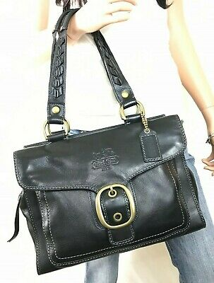 COACH $548 Black Leather Legacy Bleecker Tattersall Purse #11420