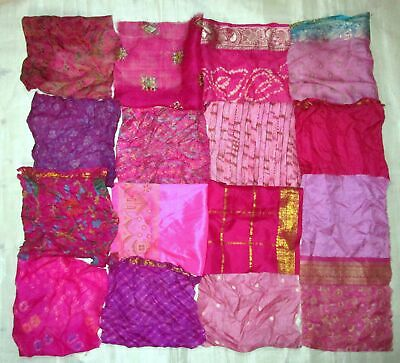 UK LOT PURE SILK Antique Vintage Sari Fabrics REMNANT 16 pcs 8 inch Pink Magenta
