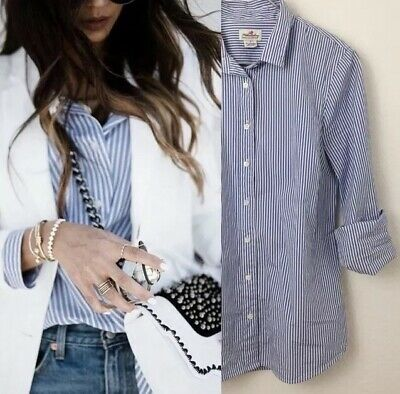 205f810c J Crew Womens Top Long Sleeve Haberdashery Blue Striped Button Down Size  Small