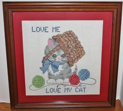 """Vintage Cat With Yarn Cross Stitch - Wall Hanging -Kitten- Framed & Matted - 20"""""""