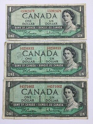 1954 Bank Of Canada One $1 Dollar Bank Note Beattie Rasminsky