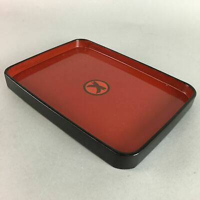 Japanese Lacquer ware Tray Vtg Meij Era Obon Wooden Red Black Kamon UR58