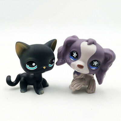 Littlest Pet Shop 2pcs LPS Black Cat Kitty Cocker Spaniel Dog#994#672 Toy Figure