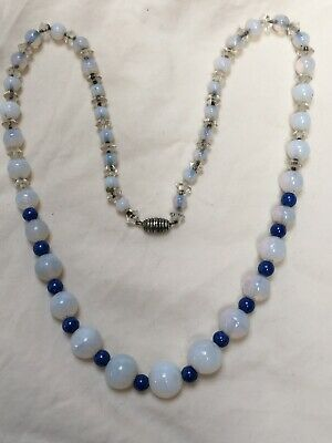 Antique Art Deco 1920s White Opaline Glass faux Lapis Blue glass bead Necklace