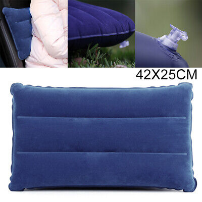 Blue Travel Camping Inflatable Soft Pillow Head Neck Rest Cushion Blow Up Pad