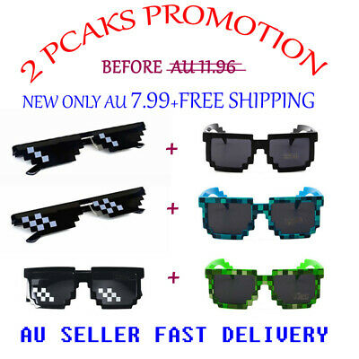 8Color Unisex Retro Trendy Square Sunglasses Pixel 8 Bit Glasses Pixelated Style