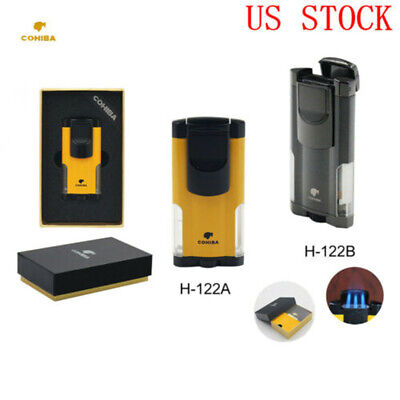 COHIBA Windproof Metal No Gas Butane 3 Torch Jet Flame Cigar Lighter With Punch