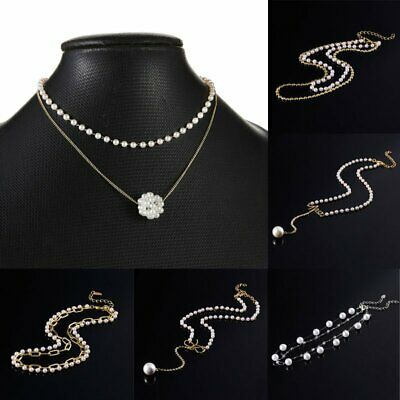 Women Pearl Pendand Chain Necklace Statement Choker Collar Chunky Jewelry Gifts