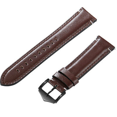 22mm Black Brown High Quality Mens Ladies Genuine Soft Leather Watch Band Strap