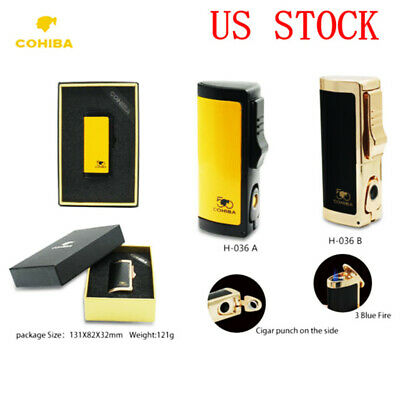 COHIBA Windproof Cigar Cigarette Lighter Butane Gas Lighter 3 Jet Torchs Metal