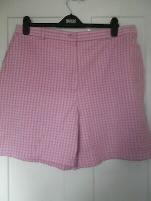 Girls Ladies Marks And Spencer M&S Pink Check Cotton  Shorts Size 20