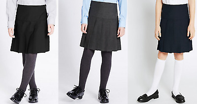 Ex Marks & Spencer Girls School Skirt Black/Grey/Navy Blue