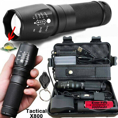 T6 Tactical Military LED 18650 Flashlight X800 Torch 90000LM Zoomable Headlamp