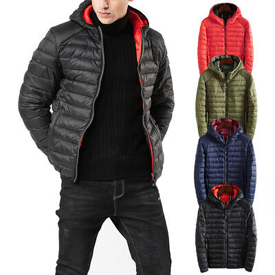 Men's Lightweight Hoodie Down Jacket Winter Hooded Quilted Puffer Coat Outerwear